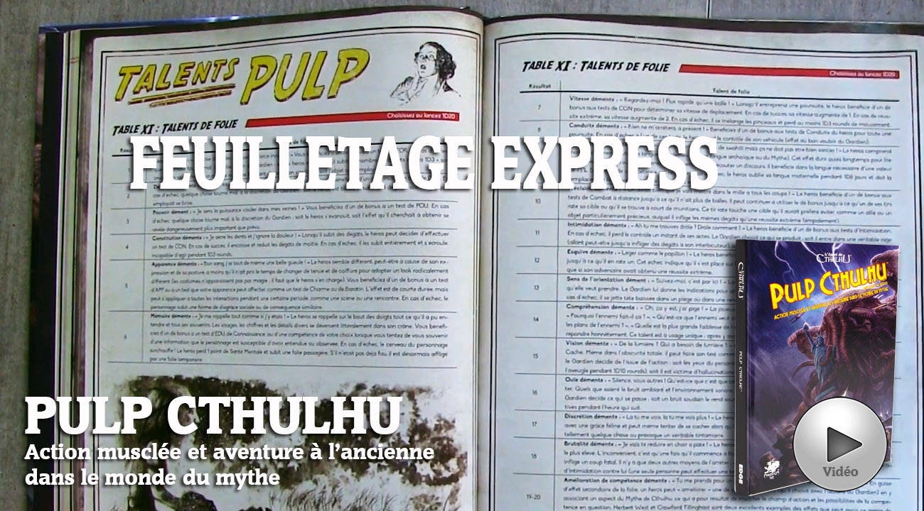Pulp Cthulhu: le feuilletage express